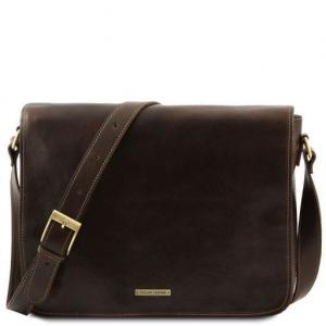 Tuscany Leather Messenger double - skórzana torba na ramię - freestyle , kolor ciemny brąz TL90475