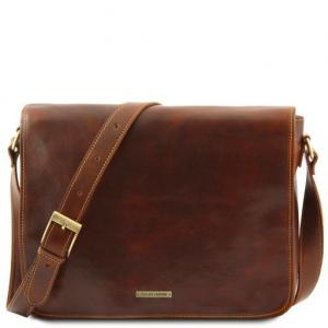 Tuscany Leather Messenger double - skórzana torba na ramię - freestyle , kolor brązowy TL90475