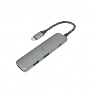 XTORM Adapter USB-C Hub 4-in-1 (pleciony kabel) szary